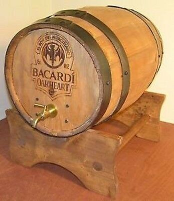 Bacardi Rum Oakheart Wood Barrel Dispenser on Stand Authentic Brand New in Box