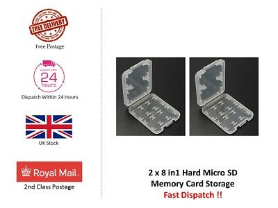 2 x 8 in1 Hard Micro SD SDHC TF MS Memory Card Storage Box Protector Holder Case