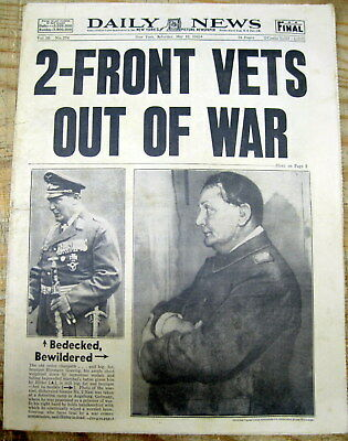 1945 NY Daily News newspaper Nazi leader HERMANN GORING CAPTURED by ALLIES wPics