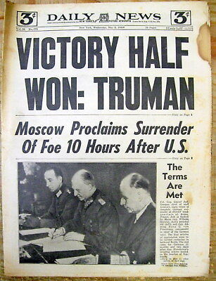 1945 NY Daily News newspaper End of WW II in EUROPE : V-E DAY Germany Surrenders