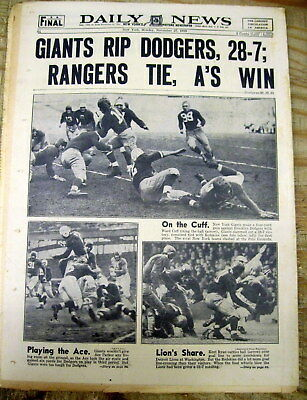 1939 NY Daily News newspaper BROOKLYN DODGERS NFL FOOTBALL team w action photos