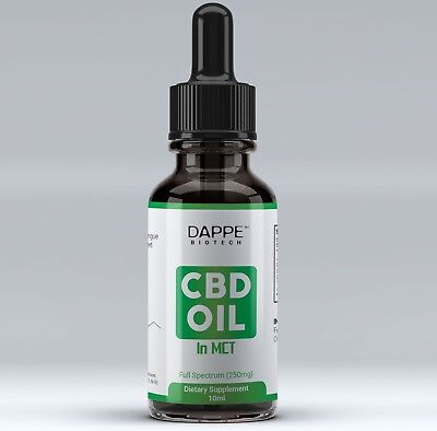 Dappe CBD Oil 20%-2000mg Organic Full Spectrum Extract Suspended in Coconut Oil
