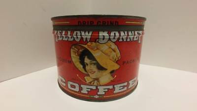 Vintage YELLOW BONNET Coffee 1lb Tin Can W/ Lid Springfield Grocery Advertising