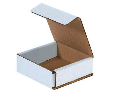 "1 Sample Strong Light Mailer 3""x3""x1"" White Small Folding Mailing Corrugated Box"