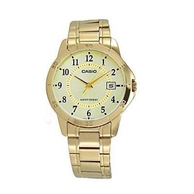 NEW Casio MTP-v004G-9B Men's Stainless Steel GOLD Watch Dial Date ANALOG Display