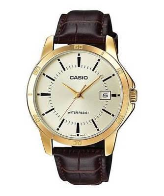 NEW Casio MTP-V004GL-9A Men Stainless Steel GOLD Watch BROWN Leather ANALOG Date