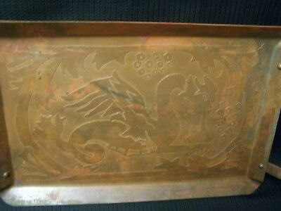 """Vintage Chinese Dragon Copper Plate Tray Hammered Etched Carved 14"""" x 7 3/4"""""""