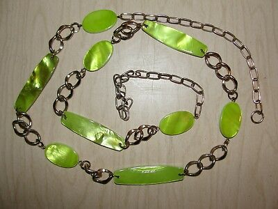 """Vtg Gold Tone Chain Belt Max Sz 36"""" Green Mother of Pearl Links Mid Century Mod"""