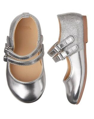 NWT GYMBOREE Fancy and Fun Silver Flats Dress Shoes Girl Toddler 4,5,6,8,7,9,10