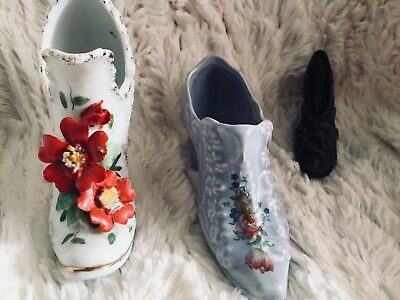 vintage LOT OF 3 ceramic victorian style shoes heel decorative collectible