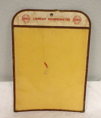Vintage Shell Oil Lubricant Recommendation clear sleeve pouch chart lube station