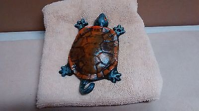 3 Collectible Cast Iron Hand Painted Turtle Wall Hook
