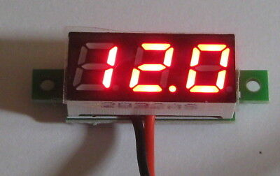 "Self Powered DC Panel Mount Mini Voltmeter - 2.5 to 30 VDC Meter - Red .28"" Digi"