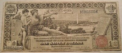 1896 $1 Silver Certificate Educational Series, One Dollar Note, Scarce Type