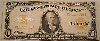 1922 $10 Gold Certificate, Better Type Note, Ten Dollar, Nice Color Middle Grade
