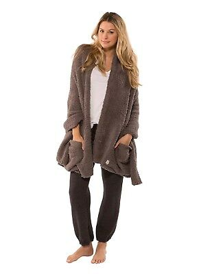 Barefoot Dreams Cozychic Womens Travel Shawl, Charcoal, NEW