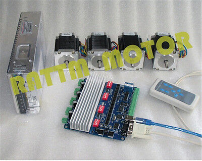 4 Axis Nema23 270oz-in Stepper Motor 76mm 3A+TB6560 USBCNC Driver CNC Router Kit