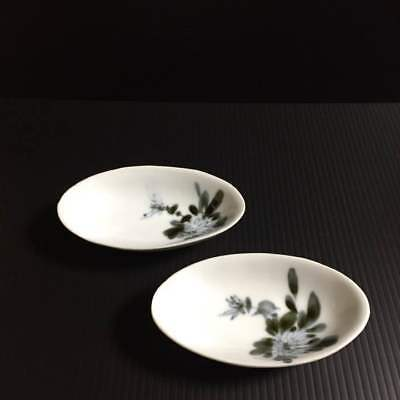 Antique old two small plates vintage Japan retro  popular beautiful EMS F/S!