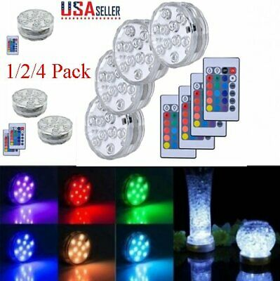 1-4PCS Submersible Accent LED Under Water Lights w/ Remote Control Pool Fountain