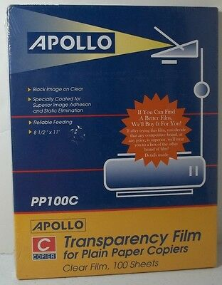 Apollo Transparency Film For Plain Paper Copiers Clear Film Black Image Sheets