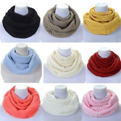 Women Autum Winter Warm Infinity 2 Circle Cable Knit Cowl Neck Long Scarf