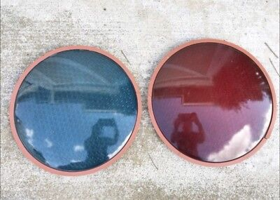 """Large 12"""" Red & Green Traffic Signal Light Wide Angle Glass Lens Lenses"""