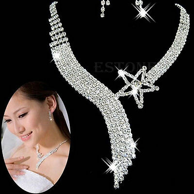 Fashion Crystal Wedding Party Bridal Jewelry Sets Tassel Star Necklace Earrings