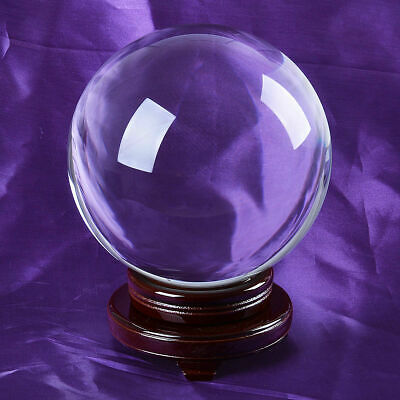 "LONGWIN 200mm 7.87"" Clear Quartz Crystal Ball Sphere Free Stand Venue Decoration"