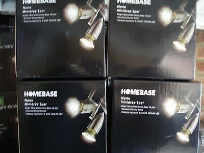 Wholesale Job Lot Of 4 Brand New Norte Minidrop Brushed Crome Spotlights Carboot