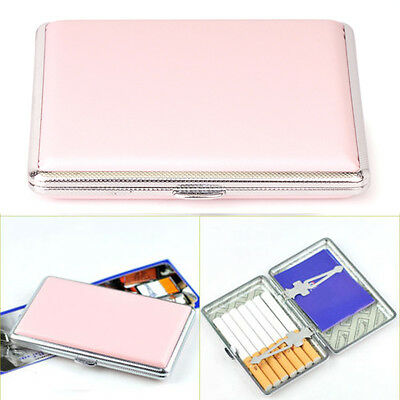 Women's Pink Thin Slim Faux Leather Wiredrawing 14 Cigarettes Holder Case.AU