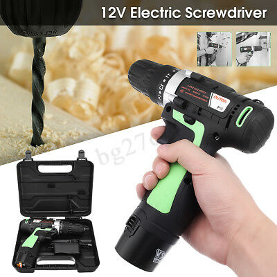Cordless Electric Drill 10mm 3/8 Screw Driver Light Rechargeable Metal Wood 12V