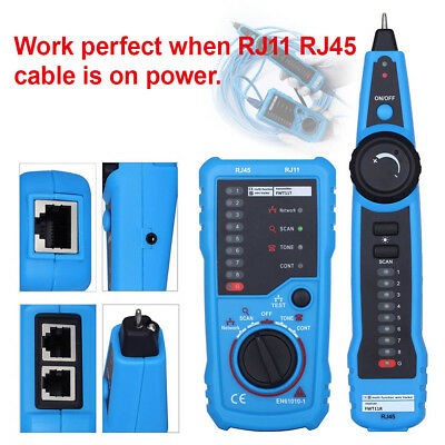 Set RJ11 RJ45 Cable Tracer Tracker Network Tester Telephone Ethernet LAN F Set1'