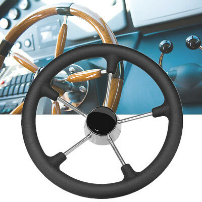 5 Spoke Stainless Steel Black Foam Grip Steering Wheel Destroyer For Marine Boat