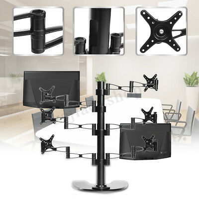 Dual HD LED Desk Mount Monitor Stand Bracket 6 Arm Holds LCD Screen Holder MECO