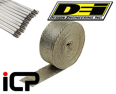 "DEI Titanium Heat Exhaust Wrap & Stainless Steel Tie Kit 2""x15FT Roll"