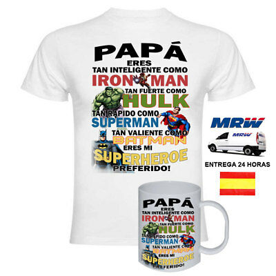 Camiseta Super heroe Iron Man Hulk Dia del padre Batman Marvel + TAZA