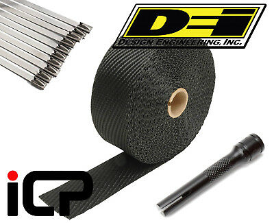 "DEI Black Titanium Heat Exhaust Wrap, Stainless Ties & Tool Kit 2""x50FT Roll"