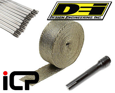 "DEI Titanium Heat Exhaust Wrap, Stainless Ties & Tool Kit 2""x15FT Roll"