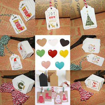100*Christmas Kraft Paper Tags Hang  Wedding Party Favor Label Price Gift  COP