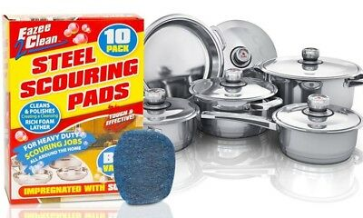 10 pcs of Soap Impregnated Wire Scouring Pads, Abrasive Pots & Pans Cleaner