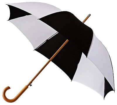Umbrella with Wooden Shaft & Handle Windproof & Automatic - Checked Black White
