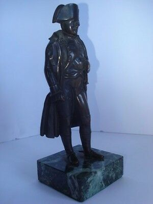 19th Century French Bronze Statuette Of Napoleon On Green Marble Base