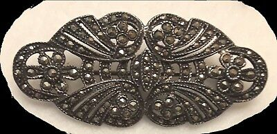 "VINTAGE STERLING SILVER MARCASITE ART DECO STYLE 2"" BROOCH PIN  8.3gr *EUC*"