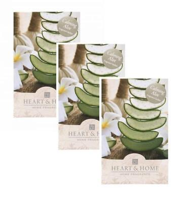 Pack of 3 Heart and Home Calming Aloe Large Scented Fragrance Sachet with Hanger