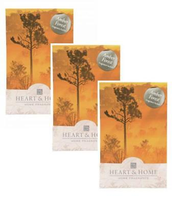 Pack of 3 Heart and Home Amber Forest Large Scented Fragrance Sachet with Hanger