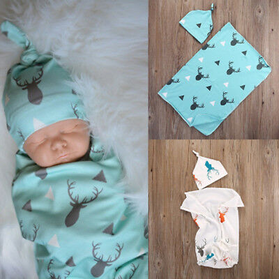 Newborn Infant Baby Deer Print Swaddle Blanket Warm Sleep Muslin Wrap+Headband