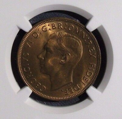1951 Uncirculated Great Britain Penny NGC MS65 RB Beautiful Red Brown - NR