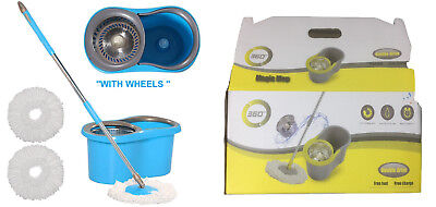 360° Floor Magic Spin Mop Bucket Stainless Steel Spinner with 2 microfibre heads