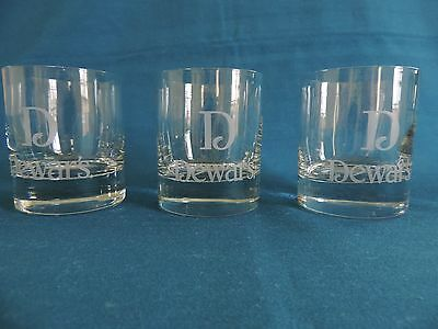 Set of 3 Dewar's White Label Old Fashioned Lowball Rocks Barware Glasses EUC