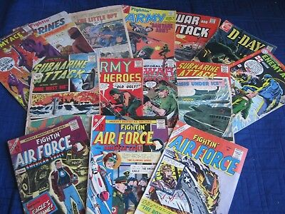 """(14) Silver Age War Comics- Fightin"""" Air, Marines & Army. Enemy Ace. LOW / POOR"""